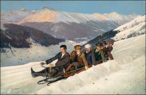 Ansichtskarte  Wintersport: Schlitten/Rodeln Männer Stimmungsbild 1911