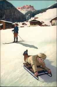 Ansichtskarte  Wintersport: Schlitten/Rodeln Junge Stimmungsbild 1911