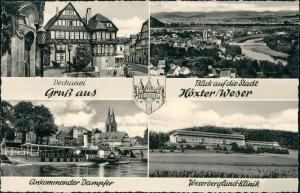 Ansichtskarte Höxter (Weser) Dechanei, Stadt, Klinik, Dampfer 1958