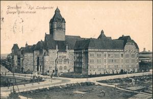Ansichtskarte Südvorstadt-Dresden Gericht Bähr-Strasse Kreuzung 1915
