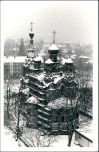 Südvorstadt Dresden Wiederaufbau Russisch-Orthodoxe Kirche Winter 1965
