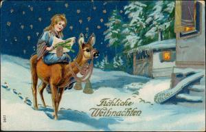 Ansichtskarte  Goldprägekarte Lama Mädchen Weihnachten 1911 Goldrand