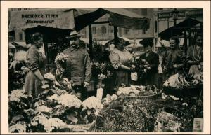 Ansichtskarte Dresden Dresdner Typen - Blumenmarkt 1925/1995 REPRO