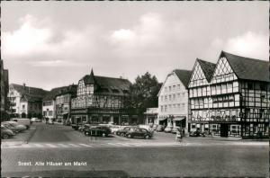 Soest Autos ua. VW Käfer, Alte Häuser am Markt, Geschäfte 1960