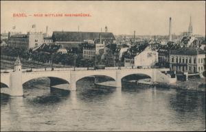 Ansichtskarte Basel Neue Mittlere Rheinbrücke 1912