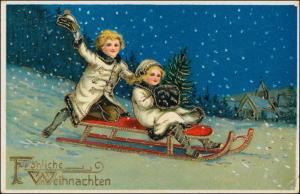 Ansichtskarte  Weihnachten Kinder auf Schlitten Goldprägekarte 1915 Goldrand