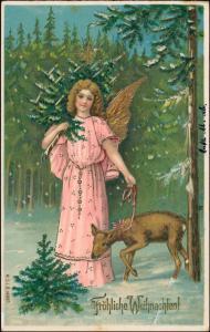 Ansichtskarte  Weihnachten Engel Goldprägekarte Reh 1906 Goldrand