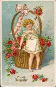 Neujahr/Sylvester Goldprägekarte Mädchen sitz auf Rosenkorb 1909   Goldrand