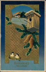Neujahr/Sylvester Goldprägekarte Vögel Vogelhaus 1910 Goldrand