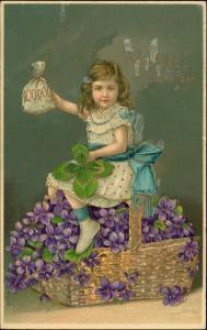 Neujahr/Sylvester Feilchen Mädchen Goldprägekarte 1909 Goldrand
