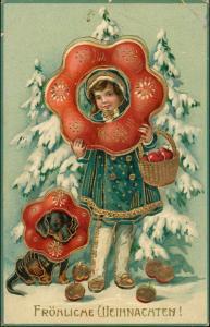 Weihnachten Goldprägekarte Mädchen und Hund Winter 1910 Goldrand