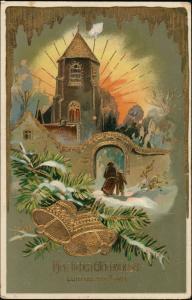 Neujahr Sylvester Goldprägekarte Kirchgang Glockenspiel 1911 Goldrand