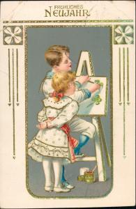 Jugendstil Ornament Goldrand Prägekarte - Junge Mädchen Staffellei 1912 Goldrand