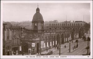 Postcard Leicester Railway Station Bahnhof London Road 1938