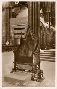 Postcard London Westminster Abbey The Coronation Chair 1953