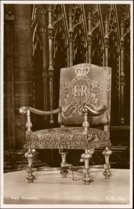 Postcard London Westminster Abbey - The Throne 1953