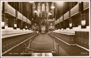 Postcard London Westminster Abbey The Nave 1953