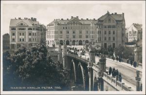 Postcard Marburg an der Drau Maribor KRALJA PETRA TRG 1929