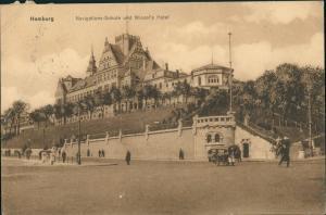 Ansichtskarte St. Pauli-Hamburg Navigationsschule Wiezels Hotel 1911