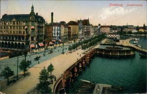 Ansichtskarte Hamburg Jungfernstieg - Straße 1915