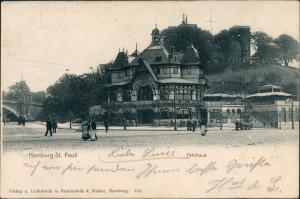 Ansichtskarte St. Pauli-Hamburg Fährhaus St. Pauli - Straße belebt 1902
