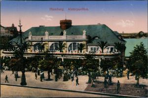 Ansichtskarte Hamburg Alsterpavillon - belebt 1914