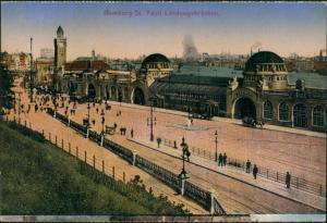 Ansichtskarte St. Pauli-Hamburg Landungsbrücken - Hafen 1914