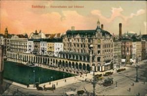 Ansichtskarte Hamburg Alsterarkaden und Schleuse 1914