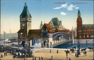 Ansichtskarte Hamburg Wandrahmsbrücke - Straßenbahn Bierkutsche 1914