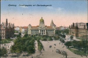Ansichtskarte Hamburg Sievekingplatz mit Oberlandesgericht 1921