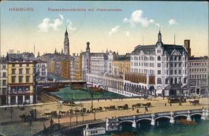 Ansichtskarte Hamburg Alsterarkaden, Reesendammbrücke 1914