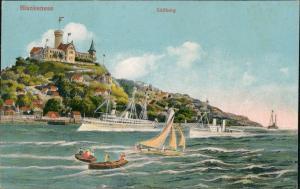 Blankenese-Hamburg Süllberg, Kriegsschiffe - Künstlerkarte 1911