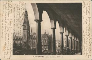 Ansichtskarte Hamburg Alsterarkaden und Rathaus 1909