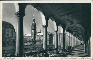 Ansichtskarte Hamburg Alsterarkaden, Rathaus 1936