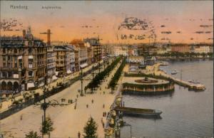 Ansichtskarte Hamburg Jungfernstieg - Stimmungsbild 1915