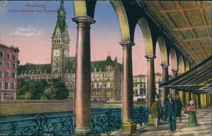Ansichtskarte Hamburg Alsterarkaden - flanierende Menschen 1921