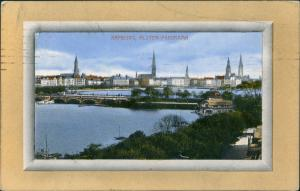 Ansichtskarte Hamburg Alster-Panorama 1911 Passepartout