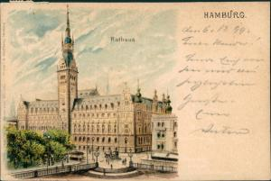 Ansichtskarte Hamburg Rathaus - Künstlerkarte 1899