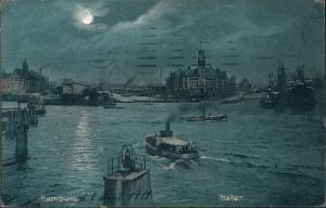 Ansichtskarte Hamburg Hafen, Dampfer - Kehrwiederspitze b. Mondschein 1911