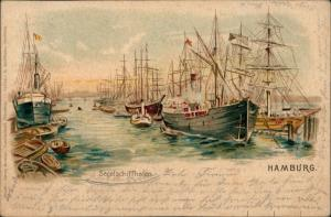 Ansichtskarte Hamburg Segelschiffhafen - Künstlerkarte 1900