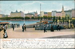Ansichtskarte Hamburg Jungfernstieg, Anlegeplatz der Alsterboote 1905