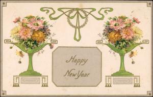 Ansichtskarte  Jugenstil Happy New Year Neujahr/Sylvester 1911 Goldrand