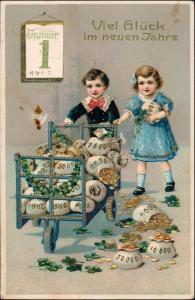 Neujahr/Sylvester Goldprägekarte Kinder Goldsäcke 1913 Goldrand