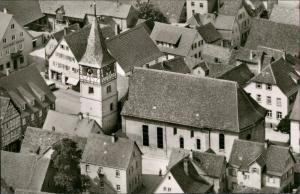 Niederstetten Luftbild Überflug Dorf-Mitte Zentrum Kirche Wohnhäuser 1960