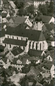 Ansichtskarte Pöttmes Luftbild Überflug Dorf-Mitte-Zentrum, Kirche 1955