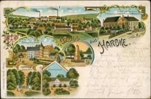 Litho AK Harbke-Obere Aller MB Schloß, Fabrik, Gasthaus Gruss aus 1909