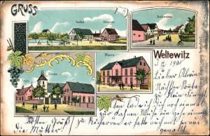 Ansichtskarte Weltewitz-Jesewitz Pfarre, Dorfstrasse, Gasthof 1905