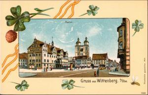Lutherstadt Wittenberg Marktplatz - Glücksklee, Straßenbahn 1916 Prägekarte