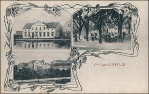 Ansichtskarte Roitzsch-Trossin 3 Bild: Gasthof, Stadt 1911
