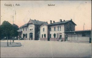 Ansichtskarte Coswig (Anhalt) Partie am Bahnhof 1922